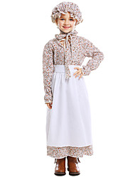 cheap -Maid Costume Dress Hat Flower Girl Dress Girls' Movie Cosplay A-Line Slip Vacation Dress White Dress Apron Hat Children's Day Masquerade Cotton / Polyester
