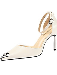 cheap -Women's Wedding Shoes Spring & Summer Stiletto Heel Pointed Toe Daily Solid Colored PU Camel / Almond / Red