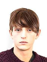 cheap -Synthetic Wig Matte Natural Straight Layered Haircut Wig Short Light golden Light Brown Grey Natural Black Synthetic Hair 65 inch Men's Party New Hot Sale Gray
