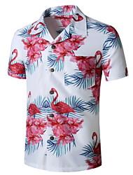 cheap -Men's Graphic Flamingos Print Shirt Tropical Daily Button Down Collar White / Short Sleeve