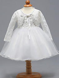 cheap -Two Piece Knee Length Birthday / Event / Party Christening Gowns - Lace / Tulle Long Sleeve V Neck with Bow(s)