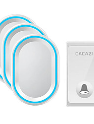 cheap -CACAZI FA80-3 Self-powered Wireless Doorbell 3 Receiver Waterproof No Battery Required Button Smart Home Cordless Call Bell 58 Chime