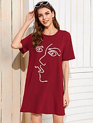 Недорогие -Жен. Платье-футболка ひざ丈ドレス - Короткие рукава С принтом Лето На каждый день Повседневные На выход 2020 Винный Черный Зеленый S M L XL