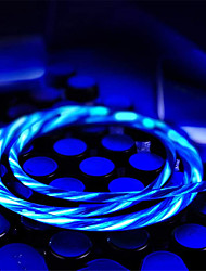 Недорогие -6 шт. 1 м световой кабель быстрая зарядка дата линия usb micro ios type c светодиодный кабель течет свечение данных для samsung xiaomi huawei oukitel