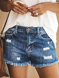 cheap -Women's Basic Street chic Daily Going out Loose Shorts Pants - Solid Colored Hole Blue Light Blue S / M / L