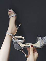 cheap -Women's Heels / Sandals 2020 Heel Sandals Spring / Summer Pumps Open Toe Sexy Sweet Wedding Daily PU Black / Gold / Silver