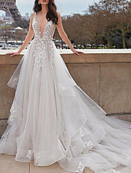 cheap -A-Line Wedding Dresses Plunging Neck Court Train Organza Tulle Sleeveless Beach Sexy See-Through with Sashes / Ribbons Appliques Cascading Ruffles 2020