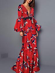 cheap -Sheath / Column Bohemian Maxi Dress Wedding Guest Formal Evening Dress V Neck Long Sleeve Floor Length Spandex with Ruffles Pattern / Print 2021