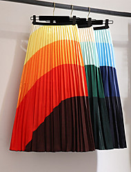 cheap -Women's Daily / Casual Sexy A Line Skirts - Geometric Print Blue Orange One-Size