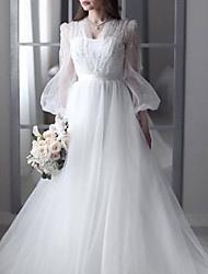 cheap -A-Line Wedding Dresses V Neck Sweep / Brush Train Lace Tulle 3/4 Length Sleeve Sexy See-Through Backless with Sashes / Ribbons Beading 2020