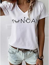 Недорогие -женская повседневная футболка - однотонный воротник рубашки черного цвета