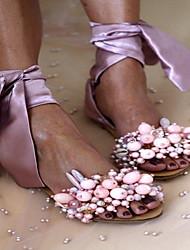 cheap -Women's Sandals Flat Sandal Summer Flat Heel Peep Toe Daily PU White / Black / Purple
