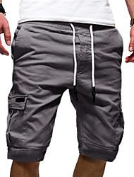 cheap -Men's Street chic Punk & Gothic Loose Cotton Shorts Tactical Cargo Pants - Solid Colored Sporty Drawstring White Black Army Green US34 / UK34 / EU42 / US36 / UK36 / EU44 / US38 / UK38 / EU46