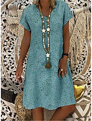 cheap -Women's A-Line Dress Knee Length Dress - Short Sleeves Print Patchwork Summer V Neck Casual Vintage Daily Oversized 2020 Blue Purple Yellow Orange Green Navy Blue S M L XL XXL XXXL XXXXL XXXXXL