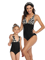 cheap -2 Piece Mommy and Me Active Sweet Leopard Backless Bow Tassel Fringe Sleeveless Short Above Knee Swimwear Black
