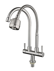 cheap -Stainless Steel Faucet Single Cooling Double Pipe Double Handle Universal Rotation Kitchen Sink Double Outlet Faucet