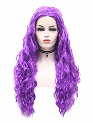 cheap -Synthetic Lace Front Wig Body Wave Carrie Curl Middle Part Lace Front Wig Long Purple Synthetic Hair 18-26 inch Women's Heat Resistant Synthetic Easy dressing Purple / Natural Hairline