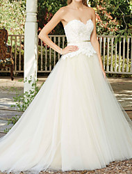 cheap -A-Line Wedding Dresses Sweetheart Neckline Court Train Tulle Sleeveless Country Wedding Dress in Color with Appliques 2020