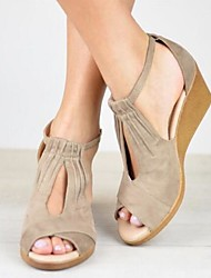 cheap -Women's Sandals Wedge Sandals Summer Wedge Heel Peep Toe Daily PU Black / Khaki / Blue