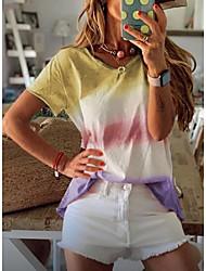 abordables -Femme Bloc de Couleur Tee-shirt Quotidien Bleu / Violet / Jaune / Vert