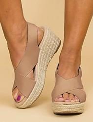 cheap -Women's Sandals Wedge Sandals Heel Sandals Summer Wedge Heel Open Toe Daily PU White / Black / Brown