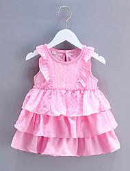 cheap -Kids Girls' Sweet Patchwork Ruffle Sleeveless Knee-length Dress White