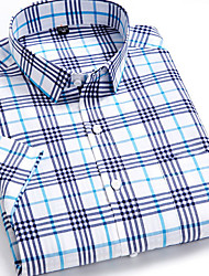 cheap -Men's Houndstooth Print Shirt Daily Blue