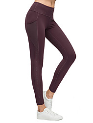 cheap -Women's High Waist Yoga Pants Side Pockets Patchwork Cropped Leggings Butt Lift 4 Way Stretch Breathable Black Purple Green Nylon Mesh Gym Workout Running Fitness Sports Activewear High Elasticity