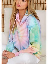 cheap -Women's Hoodie Tie Dye Basic Rainbow S M L XL XXL
