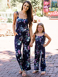 cheap -Mommy and Me Vintage Sweet Floral Print Drawstring Sleeveless Maxi Overall & Jumpsuit Navy Blue