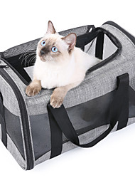 cheap -Dog Cat Pets Travel Carrier Bag Airline Approved Pet Carrier Portable Washable Expandable Solid Colored Fashion Oxford Cloth Gray
