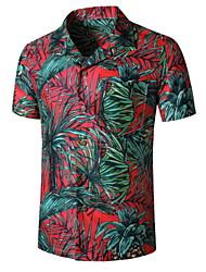preiswerte -Herrn Grafik Palme Druck Hemd Tropisch Alltag Rote