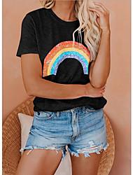 Недорогие -2020 летняя повседневная хлопковая удобная футболка радуги