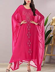 cheap -Women's Sheath Dress Maxi long Dress - Long Sleeve Solid Color Summer Elegant 2020 Fuchsia One-Size