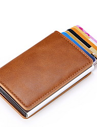 cheap -Unisex Zipper PU Leather Wallet Solid Color Black / Blue / Red