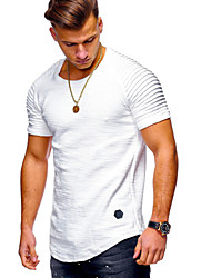 cheap -Men's T shirt Solid Colored Asymmetric Short Sleeve Daily Tops Basic Military White Black Army Green