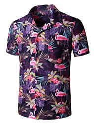 cheap -Men's Floral Graphic Print Shirt Tropical Daily Button Down Collar Purple / Short Sleeve