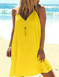cheap -Women's Sundress Short Mini Dress - Sleeveless Solid Color Summer Sexy Loose 2020 White Black Red Yellow Blushing Pink Light Green S M L XL XXL