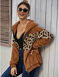 Недорогие -Жен. Куртка Повседневные Классический Обычная Леопард Коричневый M / L / XL