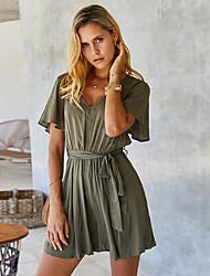 cheap -2020 SUMMER Casual Soild V-Neck Dress