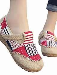 cheap -Women's Loafers & Slip-Ons Summer Flat Heel Closed Toe Daily PU Red / Blue