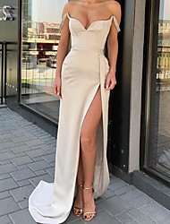 cheap -Sheath / Column Minimalist Sexy Engagement Formal Evening Dress Sweetheart Neckline Sleeveless Sweep / Brush Train Satin with Split 2020