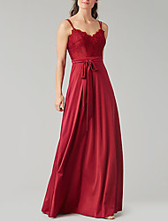 cheap -A-Line V Neck Floor Length Satin Bridesmaid Dress with Pleats