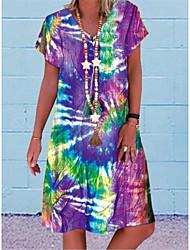 cheap -Women's A-Line Dress Knee Length Dress - Short Sleeve Print Color Block Patchwork Summer V Neck Casual Daily Belt Not Included Oversized 2020 Blue Purple Red S M L XL XXL XXXL XXXXL XXXXXL