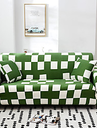 cheap -Green Check Print Dustproof All-powerful Slipcovers Stretch Sofa Cover Super Soft Fabric Couch Cover with One Free Pillow Case