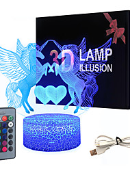 cheap -Unicorn 3D Nightlight Night Light Color-Changing Adorable Decoration Remote Control Touch Dimmer Gradient Mode Valentine's Day Christmas AA Batteries Powered USB 1pc