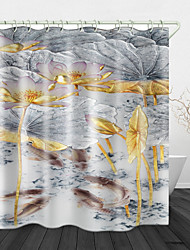 cheap -Lotus Pond Digital Print Waterproof Fabric Shower Curtain for Bathroom Home Decor Covered Bathtub Curtains Liner Includes with Hooks