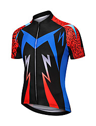 cheap -21Grams Men's Short Sleeve Cycling Jersey Red+Blue Bike Jersey Top Mountain Bike MTB Road Bike Cycling UV Resistant Breathable Quick Dry Sports Clothing Apparel / Stretchy