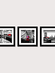 cheap -Framed Art Print Framed Set 3 American Style Pastoral Decorative Painting French Style Dining room Fresco Porch Bedroom Bedside  Black And White Building Street Scenery Hanging Pictures