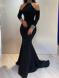 cheap -Mermaid / Trumpet Elegant Engagement Formal Evening Dress High Neck Long Sleeve Sweep / Brush Train Satin with Sequin 2021